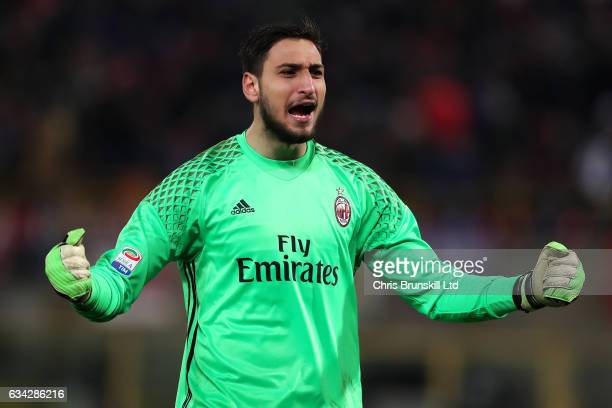 Gianluigi Donnarumma of AC Milan celebrates his side's opening goal during the Serie A match between Bologna FC and AC Milan at Stadio Renato...