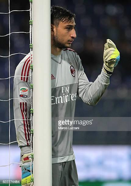 Gianluigi Donnarumma of AC Milan directs his defense during the Serie A match between UC Sampdoria and AC Milan at Stadio Luigi Ferraris on April 17...