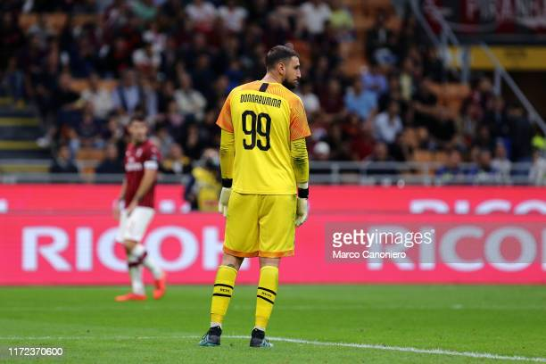 Gianluigi Donnarumma of Ac Milan disappointed during the Serie A match between Ac Milan and Acf Fiorentina Acf Fiorentina wins 31 over Ac Milan