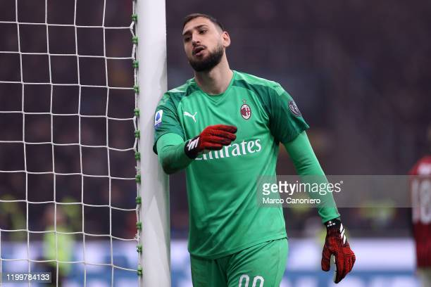 Gianluigi Donnarumma of Ac Milan disappointed during the the Serie A match between Fc Internazionale and Ac Milan Fc Internazionale wins 42 over Ac...
