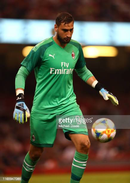 Gianluigi Donnarumma of AC Milan during the 2019 International Champions Cup match between Manchester United and AC Milan at Principality Stadium on...
