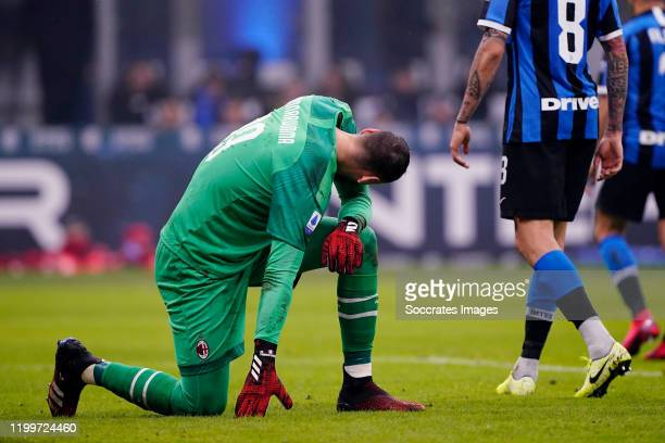 Gianluigi Donnarumma of AC Milan during the Italian Serie A match between Internazionale v AC Milan at the San Siro on February 9 2020 in Milan Italy