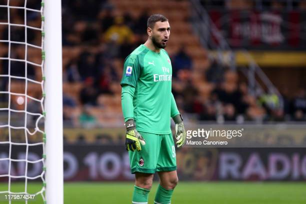 Gianluigi Donnarumma of Ac Milan during the Serie A match between Ac Milan and Ss Lazio SS Lazio wins 21 over Ac Milan