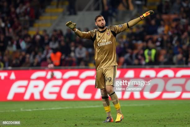 Gianluigi Donnarumma of Ac Milan during the Serie A match between Ac Milan and As Roma As Roma wins 41 over Ac Milan