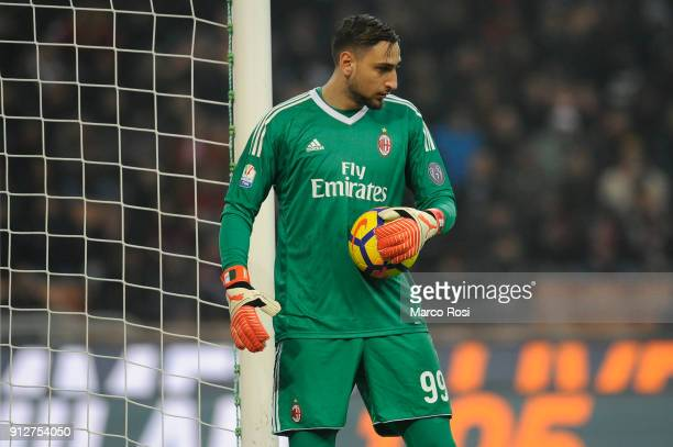Gianluigi Donnarumma of AC Milan during the TIM Cup match between AC Milan and SS Lazio at Stadio Giuseppe Meazza on January 31 2018 in Milan Italy