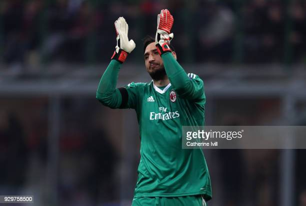 Gianluigi Donnarumma of AC Milan during the UEFA Europa League Round of 16 match between AC Milan and Arsenal at the San Siro on March 8 2018 in...