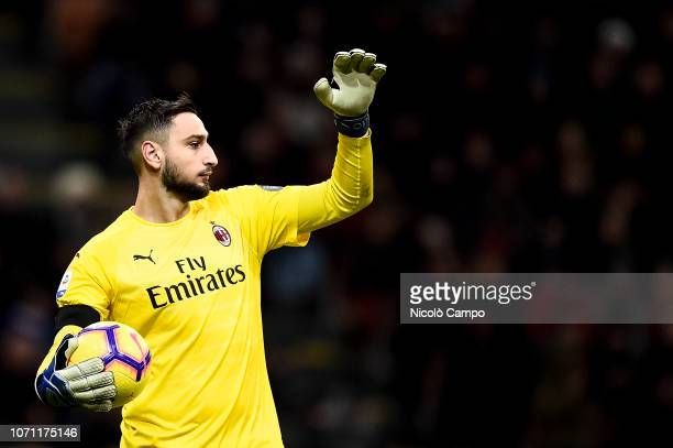 Gianluigi Donnarumma of AC Milan gestures during the Serie A football match between AC Milan and Torino FC The match ended in a 00 tie
