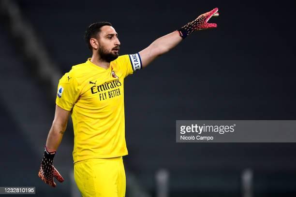 Gianluigi Donnarumma of AC Milan gestures during the Serie A football match between Juventus FC and AC Milan. AC Milan won 3-0 over Juventus FC.