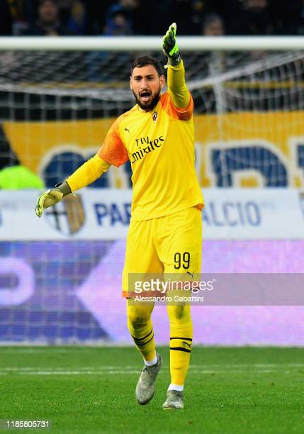 Gianluigi Donnarumma of AC MIlan gestures during the Serie A match between Parma Calcio and AC Milan at Stadio Ennio Tardini on December 1 2019 in...