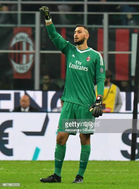 Gianluigi Donnarumma of AC Milan gestures during the Serie A match between AC Milan and Juventus at Stadio Giuseppe Meazza on October 28 2017 in...