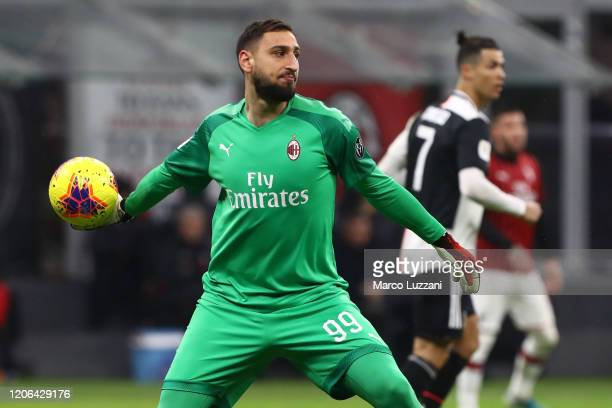 Gianluigi Donnarumma of AC Milan in action during the Coppa Italia Semi Final match between AC Milan and Juventus at Stadio Giuseppe Meazza on...