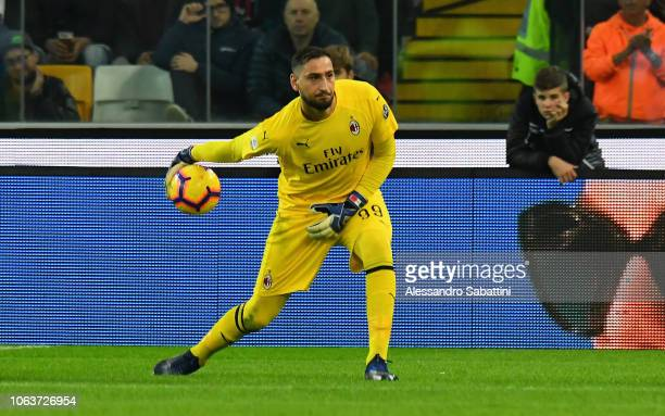 Gianluigi Donnarumma of AC Milan in action during the Serie A match between Udinese and AC Milan at Stadio Friuli on November 4 2018 in Udine Italy