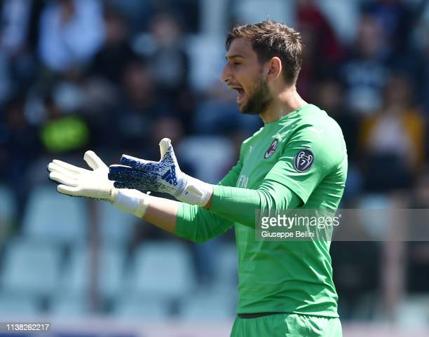 Gianluigi Donnarumma of AC Milan in action during the Serie A match between Parma Calcio and AC Milan at Stadio Ennio Tardini on April 20 2019 in...