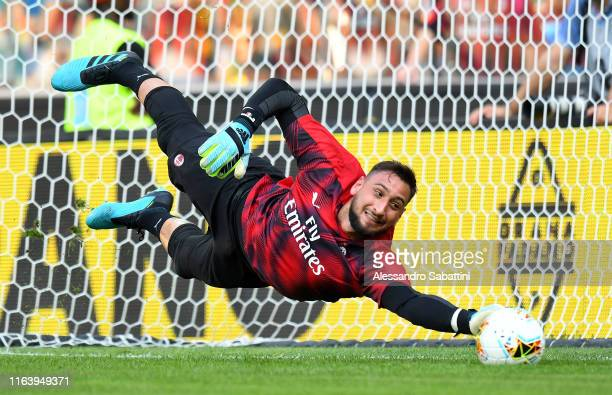 Gianluigi Donnarumma of AC MIlan in action during the Serie A match between Udinese Calcio and AC Milan at Stadio Friuli on August 25 2019 in Udine...