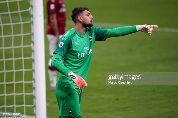 Gianluigi Donnarumma of Ac Milan in action during the Serie A match between Ac Milan and Juventus Fc Ac Milan wins 42 over Juventus Fc