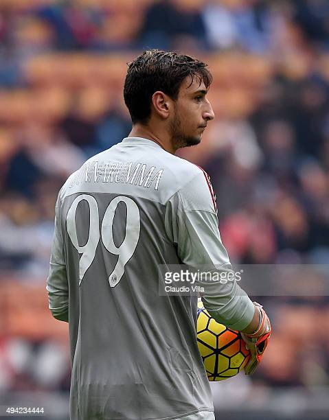 Gianluigi Donnarumma of AC Milan in action during the Serie A match between AC Milan and US Sassuolo Calcio at Stadio Giuseppe Meazza on October 25,...
