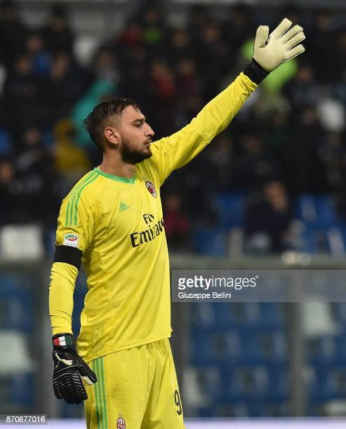 Gianluigi Donnarumma of AC Milan in action during the Serie A match between US Sassuolo and AC Milan at Mapei Stadium Citta' del Tricolore on...