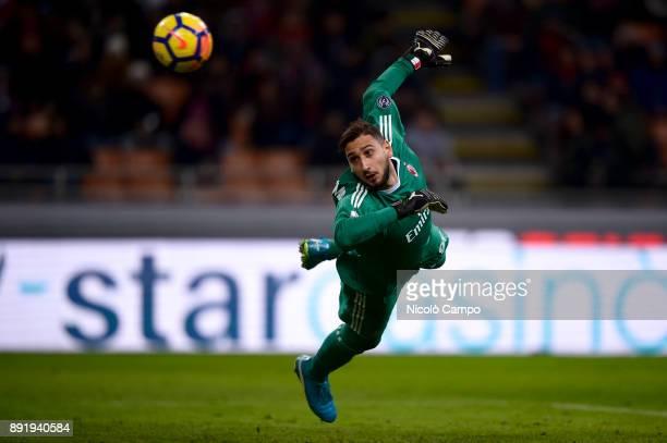 Gianluigi Donnarumma of AC Milan in action during the TIM Cup football match between AC Milan and Hellas Verona AC Milan won 30 over Hellas Verona
