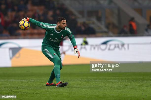 Gianluigi Donnarumma of Ac Milan in action during the Tim Cup football match between AC Milan and SS Lazio The match end in a tie 00