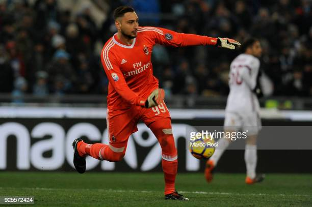 Gianluigi Donnarumma of AC Milan in action during the TIM Cup match between SS Lazio and AC Milan at Olimpico Stadium on February 28 2018 in Rome...