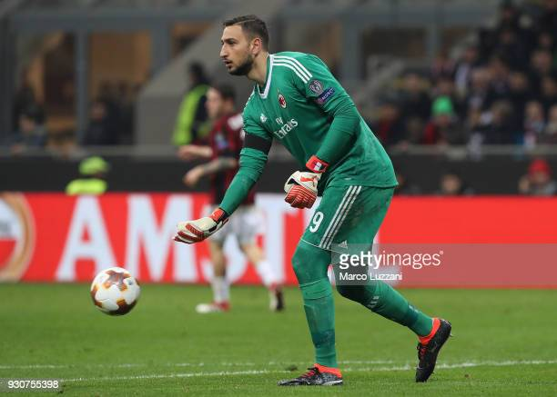 Gianluigi Donnarumma of AC Milan in action during UEFA Europa League Round of 16 match between AC Milan and Arsenal at the San Siro on March 8 2018...