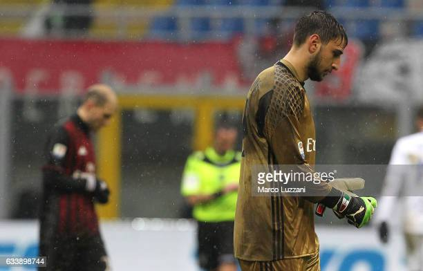 Gianluigi Donnarumma of AC Milan leaves the field looking dejected at the end of the Serie A match between AC Milan and UC Sampdoria at Stadio...