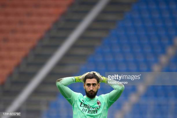 Gianluigi Donnarumma of AC Milan looks dejected during the Serie A football match between AC Milan and FC Internazionale. FC Internazionale won 3-0...