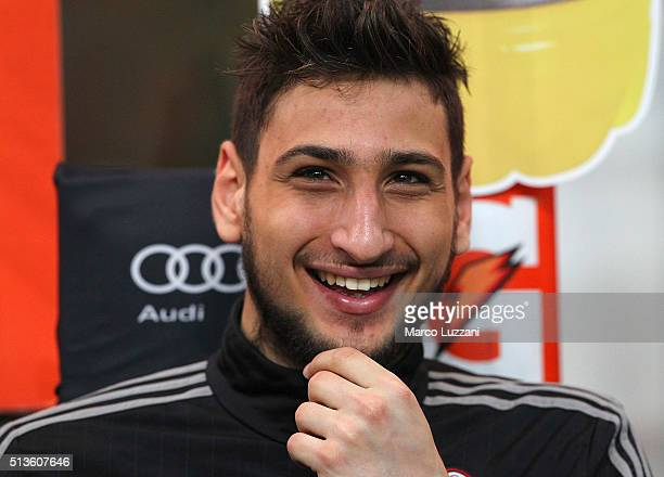 Gianluigi Donnarumma of AC Milan looks on before the TIM Cup match between AC Milan and US Alessandria at Stadio Giuseppe Meazza on March 1 2016 in...