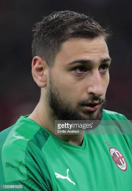 Gianluigi Donnarumma of AC Milan looks on during the Coppa Italia Quarter Final match between AC Milan and Torino at San Siro on January 28 2020 in...