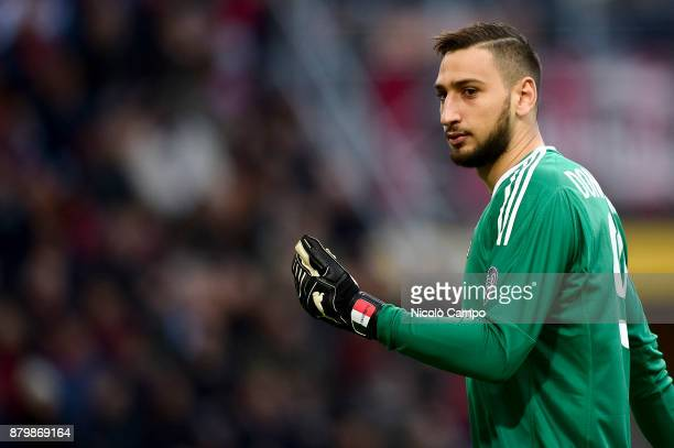 Gianluigi Donnarumma of AC Milan looks on during the Serie A football match between AC Milan and Torino FC The match ended in a 00 tie