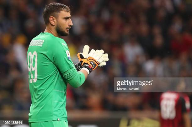 Gianluigi Donnarumma of AC Milan looks on during the serie A match between AC Milan and AS Roma at Stadio Giuseppe Meazza on August 31 2018 in Milan...