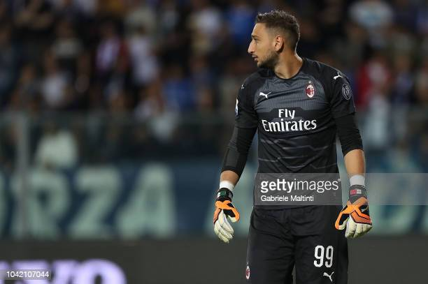 Gianluigi Donnarumma of AC Milan looks on during the serie A match between Empoli and AC Milan at Stadio Carlo Castellani on September 27 2018 in...