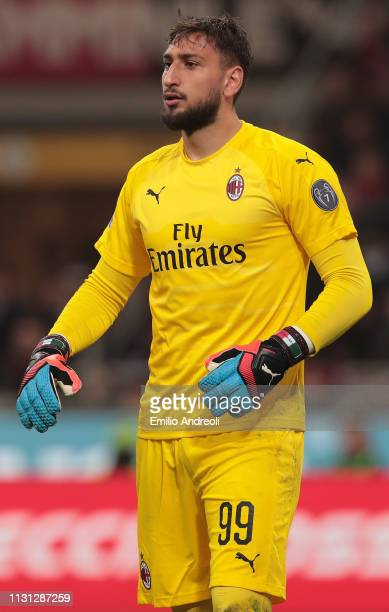 Gianluigi Donnarumma of AC Milan looks on during the Serie A match between AC Milan and FC Internazionale at Stadio Giuseppe Meazza on March 17 2019...