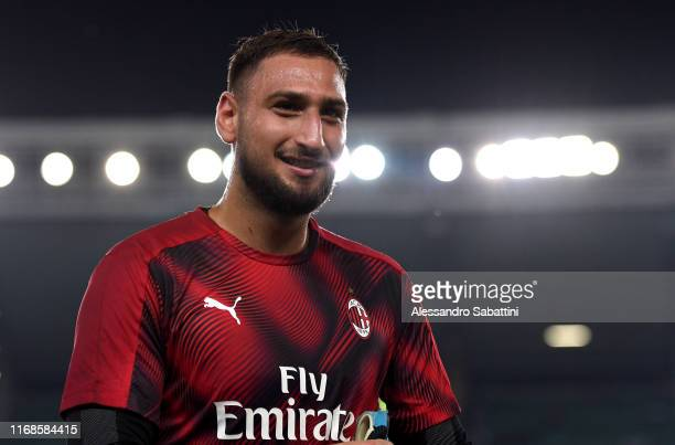 Gianluigi Donnarumma of AC Milan looks on during the Serie A match between Hellas Verona and AC Milan at Stadio Marcantonio Bentegodi on September 15...