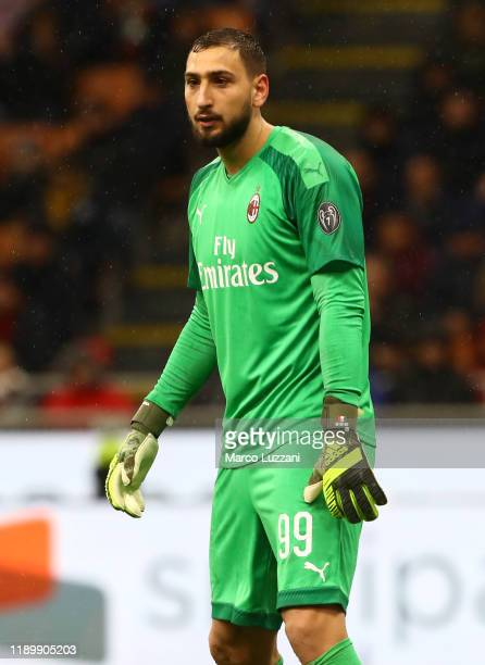Gianluigi Donnarumma of AC Milan looks on during the Serie A match between AC Milan and SSC Napoli at Stadio Giuseppe Meazza on November 23 2019 in...