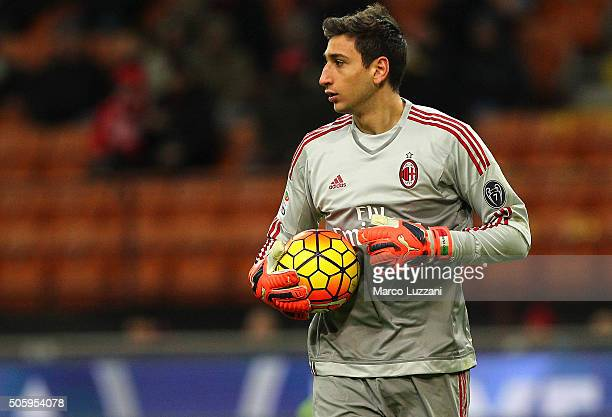 Gianluigi Donnarumma of AC Milan looks on during the Serie A match between AC Milan and ACF Fiorentina at Stadio Giuseppe Meazza on January 17 2016...