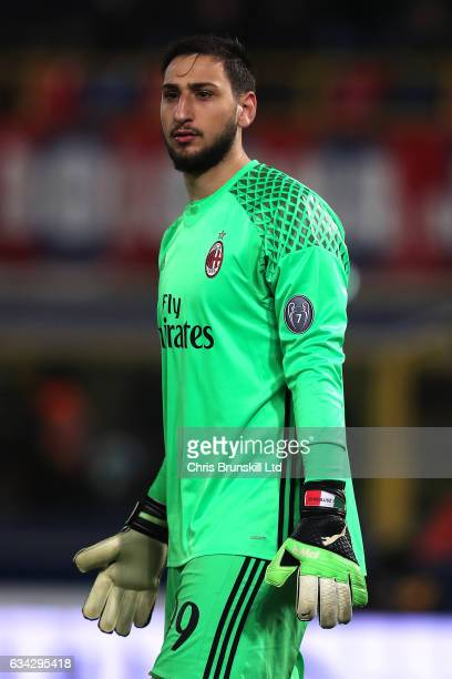 Gianluigi Donnarumma of AC Milan looks on during the Serie A match between Bologna FC and AC Milan at Stadio Renato Dall'Ara on February 8 2017 in...