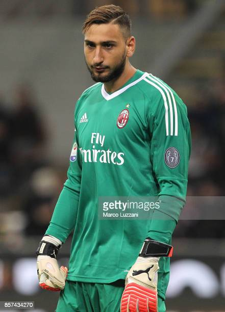 Gianluigi Donnarumma of AC Milan looks on during the Serie A match between AC Milan and AS Roma at Stadio Giuseppe Meazza on October 1 2017 in Milan...
