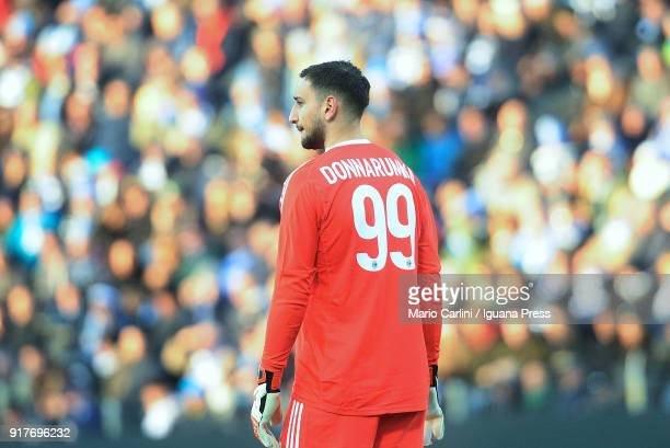 Gianluigi Donnarumma of AC Milan looks on during the serie A match between Spal and AC Milan at Stadio Paolo Mazza on February 10 2018 in Ferrara...