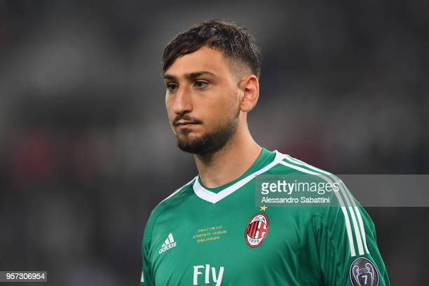 Gianluigi Donnarumma of AC Milan looks on during the TIM Cup Final between Juventus and AC Milan at Stadio Olimpico on May 9 2018 in Rome Italy