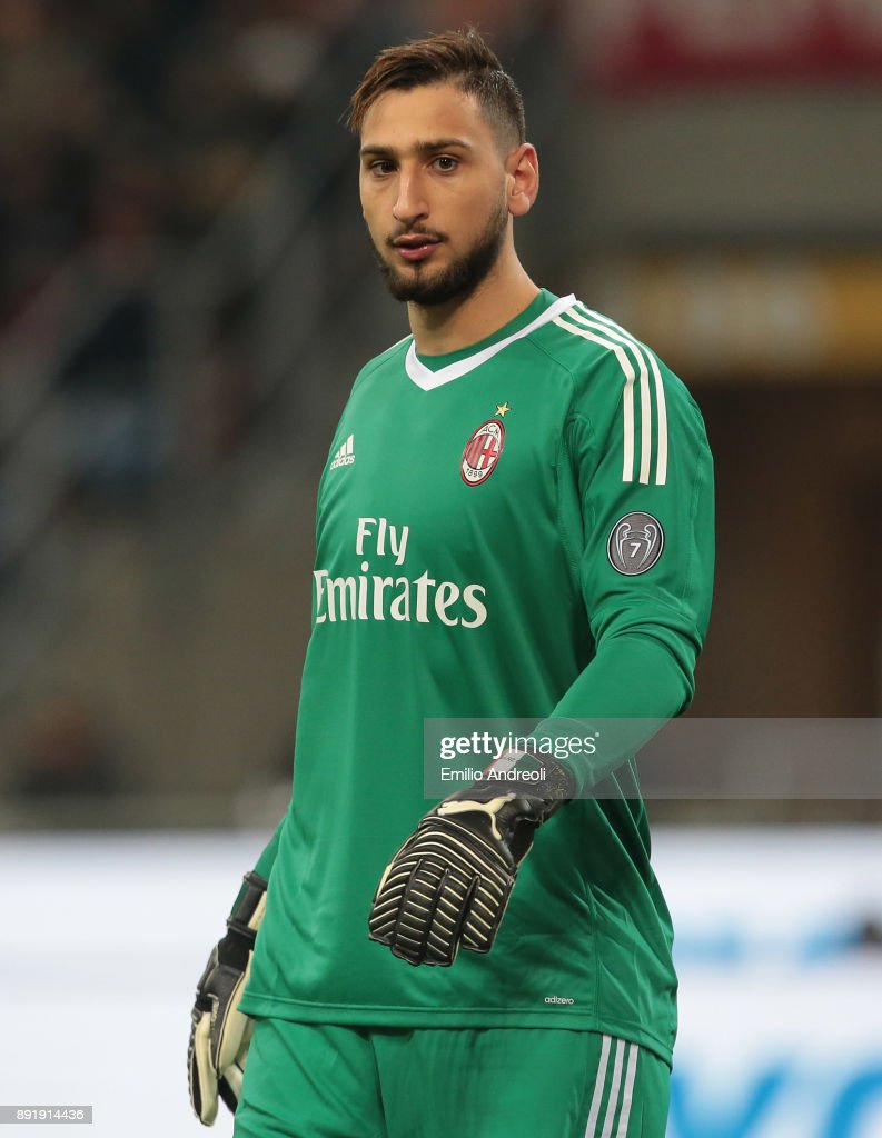 Gianluigi Donnarumma of AC Milan looks on during the Tim Cup match between AC Milan and Hellas Verona FC at Stadio Giuseppe Meazza on December 13, 2017 in Milan, Italy.