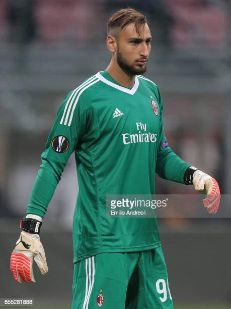 Gianluigi Donnarumma of AC Milan looks on during the UEFA Europa League group D match between AC Milan and HNK Rijeka at Stadio Giuseppe Meazza on...