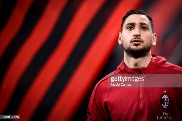 Gianluigi Donnarumma of AC Milan looks on prior to the Serie A football match between AC Milan ad US Sassuolo The match ended in a 11 tie