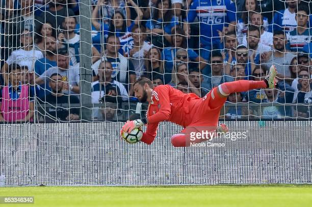 Gianluigi Donnarumma of AC Milan makes a save during the Serie A football match between UC Sampdoria and AC Milan UC Sampdoria wins 20 over AC Milan