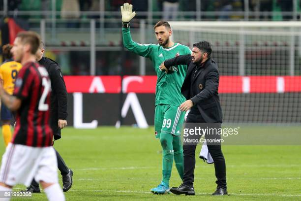 Gianluigi Donnarumma of AC Milan promoted by AC Milan coach Gennaro Gattuso at the end of the Tim Cup match between AC Milan and Hellas Verona FC Ac...