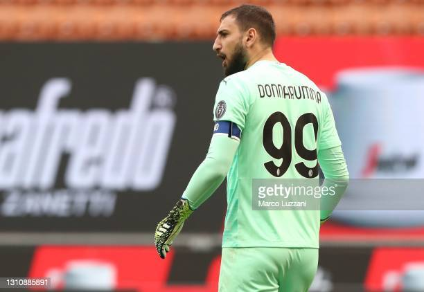 Gianluigi Donnarumma of AC Milan reacts during the Serie A match between AC Milan and UC Sampdoria at Stadio Giuseppe Meazza on April 03, 2021 in...
