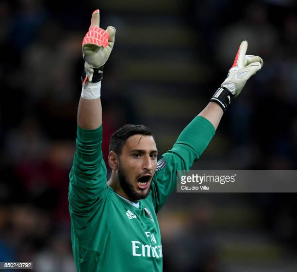 Gianluigi Donnarumma of AC Milan reacts during the Serie A match between AC Milan and Spal at Stadio Giuseppe Meazza on September 20 2017 in Milan...