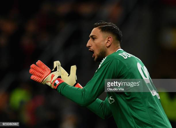Gianluigi Donnarumma of AC Milan reacts during the serie A match between AC Milan and UC Sampdoria at Stadio Giuseppe Meazza on February 18 2018 in...