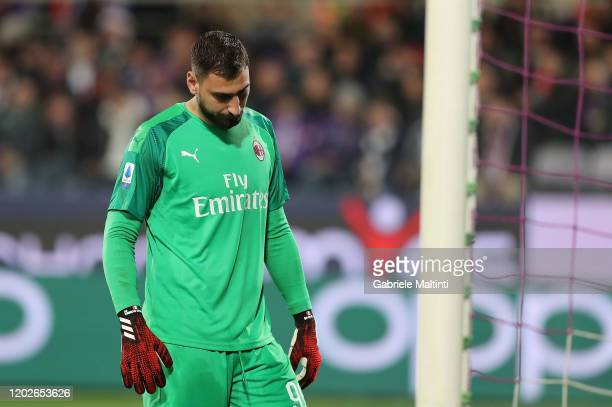 Gianluigi Donnarumma of AC Milan reacts during the Serie A match between ACF Fiorentina and AC Milan at Stadio Artemio Franchi on February 22 2020 in...