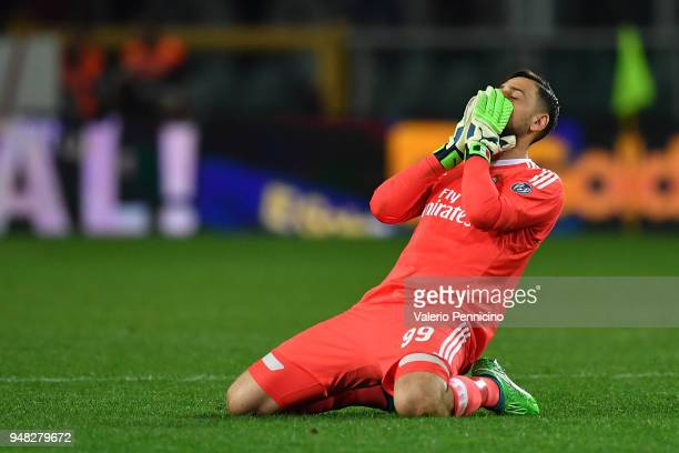 Gianluigi Donnarumma of AC Milan reacts during the Serie A match between Torino FC and AC Milan at Stadio Olimpico di Torino on April 18 2018 in...